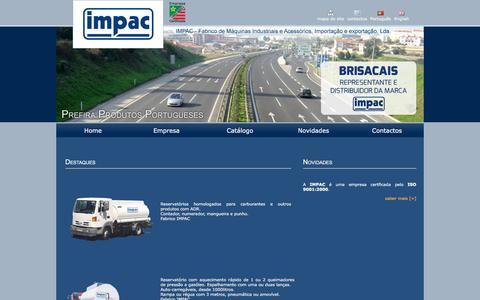 Screenshot of Home Page impac.pt - Impac - Fabrico de Máquinas Industriais e Acessórios, Importação e Exportação, Lda. - captured May 27, 2016