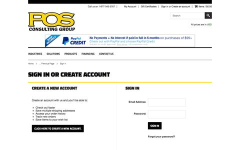 Screenshot of Login Page posconsultinggroup.com - POS CONSULTING GROUP STORE - Sign in - captured Nov. 1, 2014