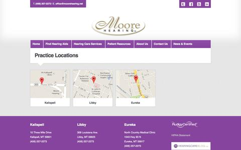 Screenshot of Locations Page moorehearing.net - Audiologists & Ear Doctors in Montana | Moore Hearing - captured Oct. 6, 2014