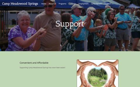 Screenshot of Support Page meadowoodsprings.org - Donate to Meadowood Springs - captured Nov. 28, 2016