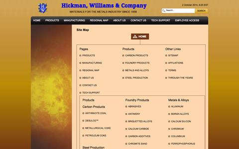 Screenshot of Site Map Page hicwilco.com - Site Map | Hickman, Williams & Company - captured Oct. 2, 2014