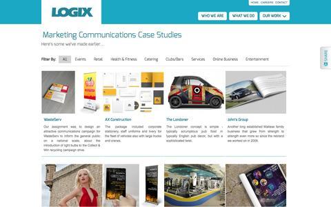 Screenshot of Case Studies Page logixcreative.com - Marketing Communications Case Studies «  Logix Communications Ltd. - captured Sept. 30, 2014