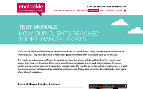 Screenshot of Testimonials Page enableme.co.nz - Testimonials | enableMe - captured Oct. 3, 2014