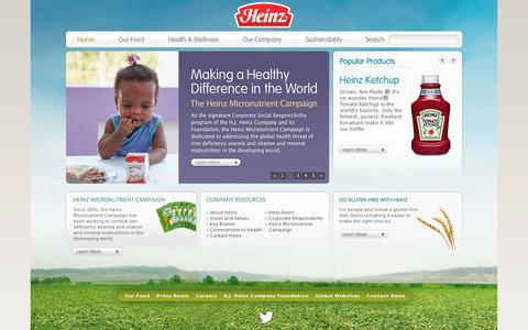 Screenshot of Home Page heinz.com - Discover the World of Heinz - captured July 12, 2014