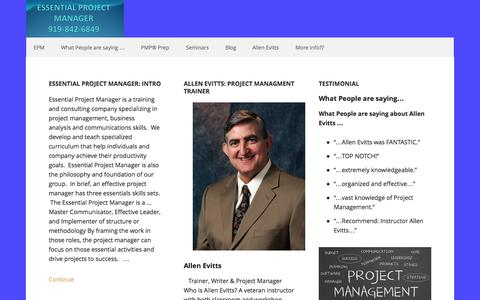 Screenshot of Home Page essentialprojectmanager.com - Essential Project Manager – Effective Training for Successful Projects - captured Sept. 30, 2014