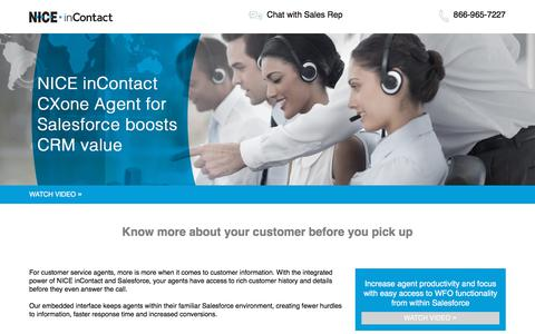 Screenshot of Landing Page niceincontact.com - NICE inContact | Agent for Salesforce WFO Video - captured May 29, 2018