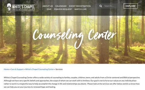 Screenshot of Services Page whiteschapelumc.com - Services - White's Chapel UMC - captured Oct. 20, 2018