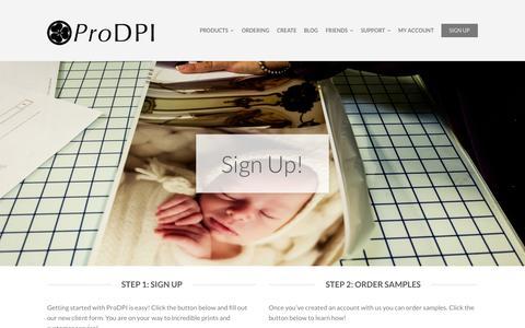 Screenshot of Signup Page prodpi.com - Sign Up - ProDPI - captured July 25, 2015
