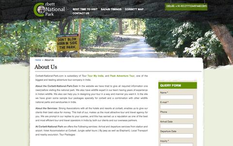 Screenshot of About Page corbett-national-park.com - Corbett National Park Contact Details - captured Nov. 1, 2014