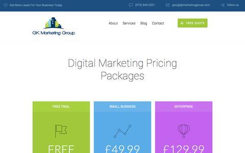 Screenshot of Pricing Page gkmarketinggroup.com - Inner page: Pricing Page | GK Marketing Group - captured July 15, 2018