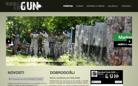 Screenshot of Home Page pk-gun.hr - Paintball Klub GUN - Rijeka - captured Sept. 27, 2015