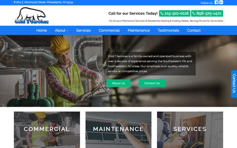 Screenshot of Home Page cold1services.com - Commercial Heating & Air Conditioning Company in Philadelphia, PA | Cold 1 Services | www.cold1services.com | Cold 1 Services - captured July 19, 2018