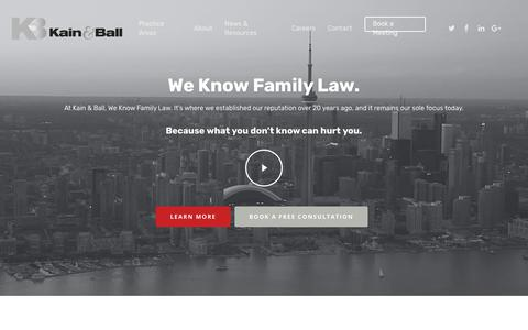Screenshot of Home Page kainfamilylaw.com - Toronto & Mississauga Family Law Firm & Divorce Lawyers | Kain & Ball - captured Nov. 15, 2018