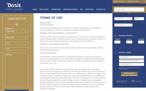 Screenshot of Terms Page dusit.com - Dusit Hotels   Terms of Use   Dusit International - captured Feb. 9, 2016