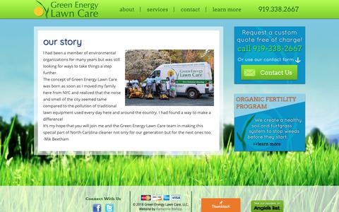 Screenshot of About Page greenenergylawncare.com - Our Story | Green Energy Lawn Care - captured Nov. 5, 2018