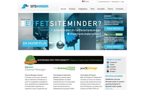 Screenshot of Home Page siteminder.fr - SiteMinder Channel Manager - captured Jan. 26, 2015