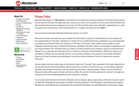 Screenshot of Privacy Page microchip.com - Privacy Policy | Microchip Technology Inc. | Microchip Technology Inc. - captured Jan. 10, 2018