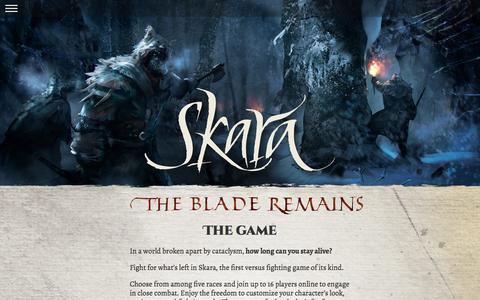 Screenshot of Home Page Press Page thebladeremains.com - Skara › The Game - captured Sept. 22, 2014