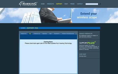 Screenshot of FAQ Page hawkingtech.com - Hawking Technology: High Performance Wireless Technology - captured Jan. 27, 2016