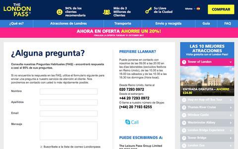 Screenshot of FAQ Page londonpass.es - London Pass Contact Details - London Pass Customer Service Details - captured Oct. 31, 2017