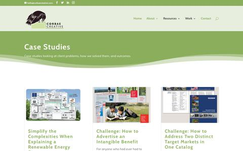 Screenshot of Case Studies Page corbaecreative.com - Case Studies - Corbae Creative - captured Nov. 5, 2018