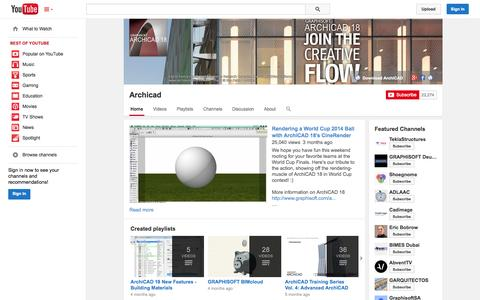 Screenshot of YouTube Page youtube.com - Archicad  - YouTube - captured Oct. 23, 2014