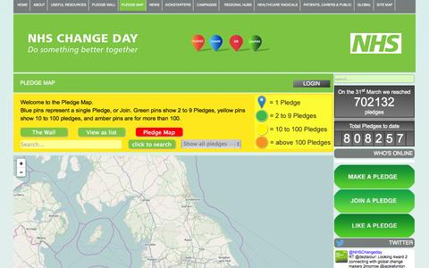 Screenshot of Maps & Directions Page changeday.nhs.uk - NHS Change Day - Pledge Map - captured Oct. 26, 2014