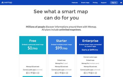 Screenshot of Pricing Page getwemap.com - Wemap | Pricing & Plans - captured Aug. 17, 2016
