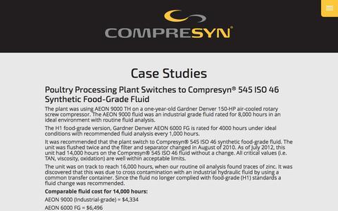 Screenshot of Case Studies Page compresyn.com - Case Studies | Compresyn Synthetic Compressor Fluids - captured July 15, 2016