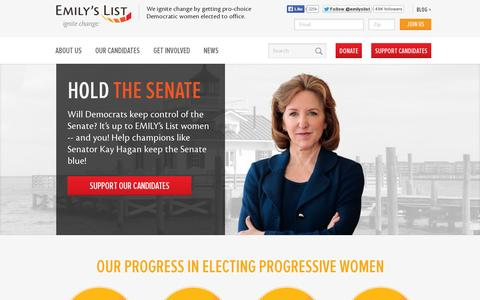 Screenshot of Home Page emilyslist.org - EMILY's List - captured July 12, 2014