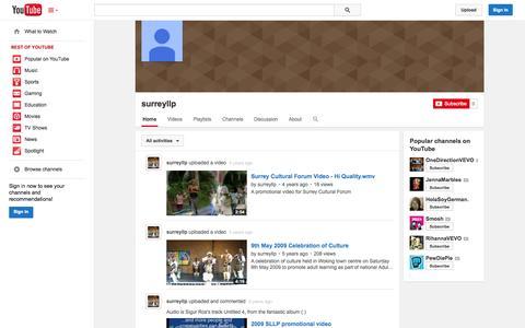 Screenshot of YouTube Page youtube.com - surreyllp  - YouTube - captured Oct. 26, 2014