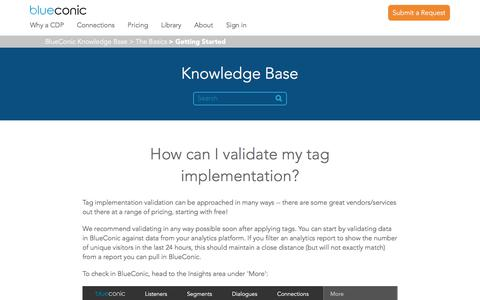 Screenshot of Support Page blueconic.com - How can I validate my tag implementation? – BlueConic Knowledge Base - captured May 2, 2018