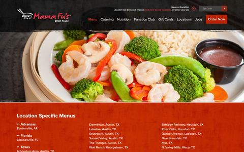 Screenshot of Menu Page mamafus.com - Asian-Inspired Menu Items - Mama Fu's - captured Dec. 14, 2015