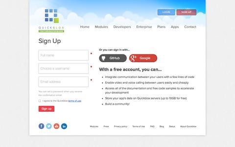 Screenshot of Signup Page quickblox.com - Sign Up | QuickBlox mBaaS: cloud communication backend API as a service for mobile and web apps - captured Sept. 17, 2014