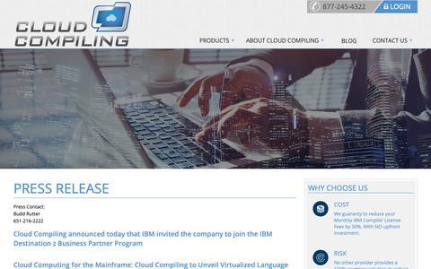 Screenshot of Press Page cloudcompiling.com - Press Release - Cloud Compiling - captured Nov. 5, 2018