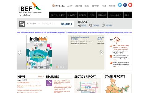 Screenshot of Home Page ibef.org - India Brand Equity Foundation, IBEF, Business Opportunities in India - captured Aug. 27, 2016