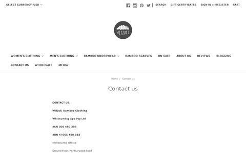 Screenshot of Contact Page witjuti.com - Witjuti Bamboo Clothing | Contact Customer Service - captured Sept. 27, 2018