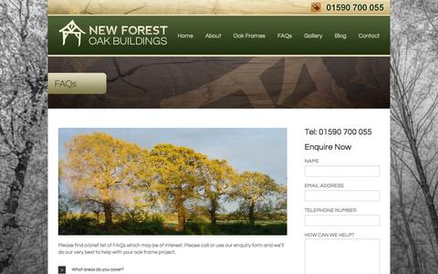 Screenshot of FAQ Page nfob.co.uk - Frequently asked questions, New forest oak buildings, oak garages - captured Oct. 7, 2014