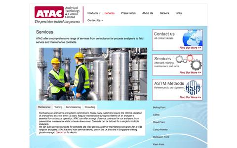 Screenshot of Services Page atacgroup.com - Services - Analytical Technology & Control Ltd - captured Oct. 4, 2014