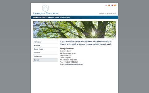 Screenshot of Contact Page hexagonpartners.com - Hexagon Partners - Contact Details - captured Dec. 5, 2015