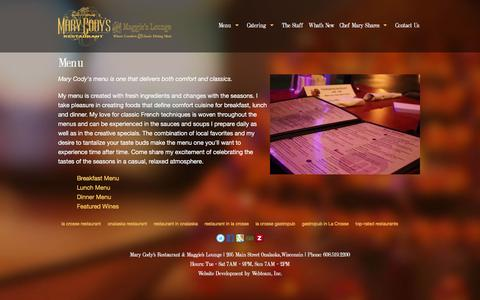 Screenshot of Menu Page marycodys.com - Menu - Mary Cody's Restaurant & Catering - captured March 17, 2016