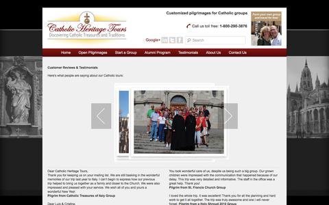 Screenshot of Testimonials Page catholicheritagetours.com - Customer Reviews – Catholic Heritage Tours - captured July 16, 2018