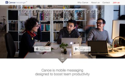 Screenshot of Home Page canoemessenger.com - Canoe Messenger - captured Oct. 1, 2014