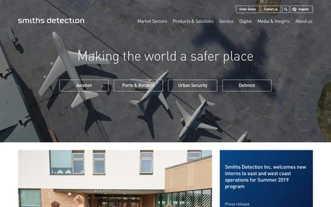 Screenshot of Home Page smithsdetection.com - Home | Making the world a safer place | Smiths Detection - captured July 23, 2019