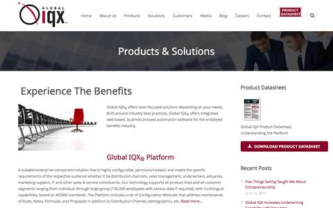 Screenshot of Products Page globaliqx.com - Products: Global IQX - Employee Benefits Software - captured July 14, 2016