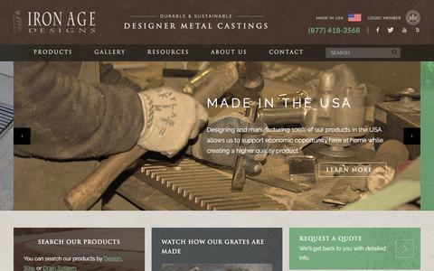 Screenshot of Home Page ironagegrates.com - Home - Iron Age Designs - captured Oct. 15, 2017