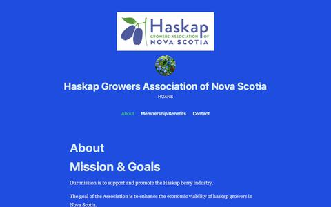 Screenshot of About Page wordpress.com - About – Haskap Growers Association of Nova Scotia - captured Feb. 18, 2018