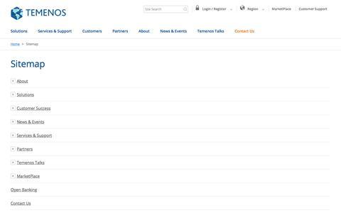 Screenshot of Site Map Page temenos.com - Temenos Sitemap - Temenos - captured Jan. 24, 2018