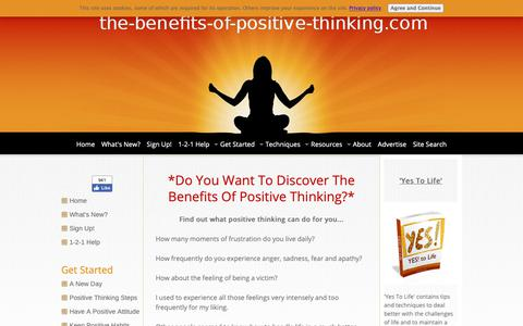 Screenshot of Home Page the-benefits-of-positive-thinking.com - The Benefits Of Positive Thinking - captured Oct. 29, 2018