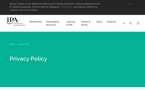 Screenshot of Privacy Page ipa.co.uk - IPA   Privacy Policy - captured Nov. 8, 2018